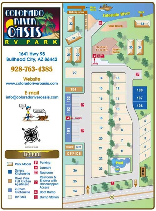 Map Of Arizona Bullhead City.View Our Bullhead City Az Park Map Colorado River Oasis